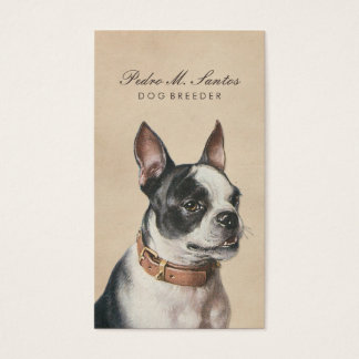 Vintage Dog Breeder Cool Animal Cream Professional Business Card