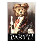 Vintage Dog Butler serving Champagne Personalized Invitations