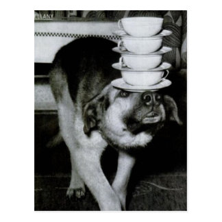 Vintage Dog Carrying Cups and Saucers on Nose Postcard