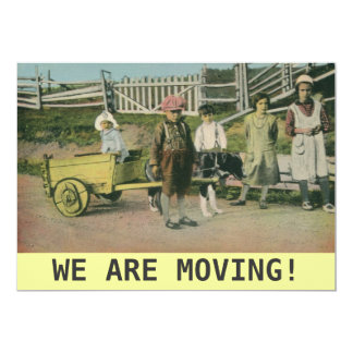 vintage dog cart We are moving announcement