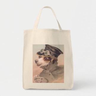 Vintage Dog Chauffeur Organic Grocery Tote Bag