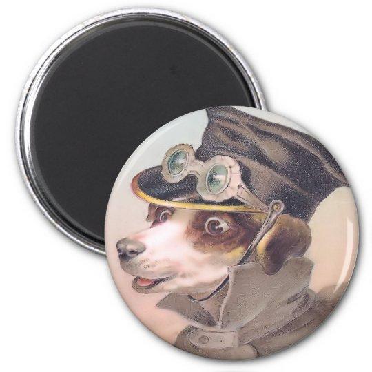 Vintage Dog Chauffeur Round Magnet