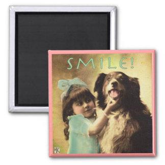 Vintage Dog Collie Smile Photo Magnet