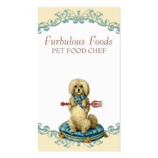 Vintage dog fork pet food chef business cards