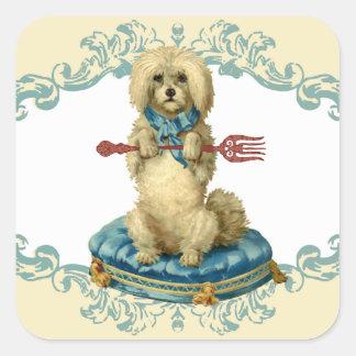 Vintage dog fork pet food chef stickers