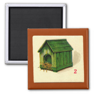 Vintage Dog House Game Card 2 Inch Square Magnet