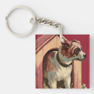 Vintage Dog House Illustration Keychain