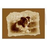 Vintage Dog in Sepia Tones Card
