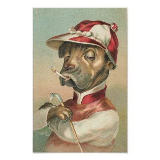 Vintage Dog Jockey print