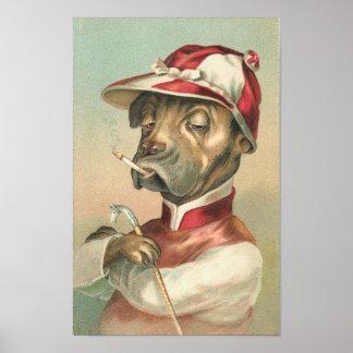 Vintage Dog Jockey Poster