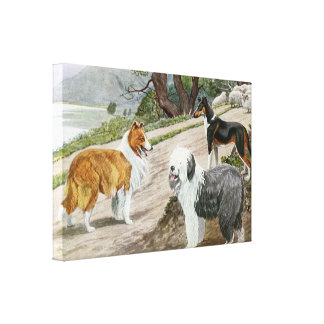 Vintage Dog Lovers Art Collie Trio Stretched Canvas Prints