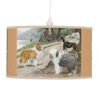 Vintage Dog Lovers Art Collie Trio Hanging Pendant Lamps