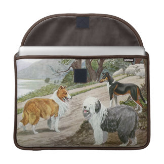 Vintage Dog Lovers Art Collie Trio Sleeves For MacBooks