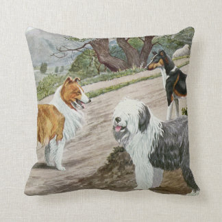 Vintage Dog Lovers Art Collie Trio Pillow