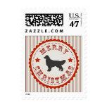 Vintage Dog Merry Christmas Golden Retriever Postage Stamp