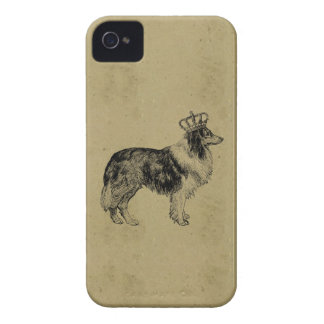 Vintage dog print royal collie with crown chic iPhone 4 cases