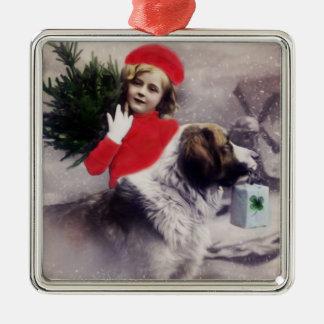 Vintage Dog Saint Bernard Christmas Ornament