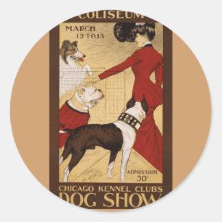 Vintage Dog Show Round Sticker