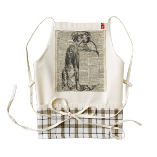 Vintage Dog Stencil Illustration On Old Book Page Zazzle HEART Apron