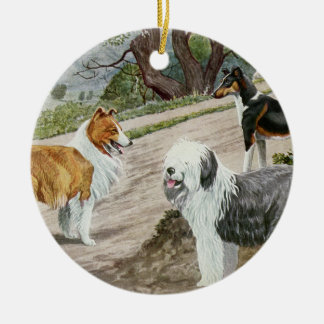 Vintage Dog Trio Ceramic Ornament