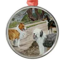 Vintage Dog Trio Metal Ornament
