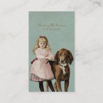 Vintage Dog Walking Cute Girl Cool Animal Simple Business Card