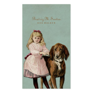 Vintage Dog Walking Cute Girl Cool Animal Simple Double-Sided Standard Business Cards (Pack Of 100)