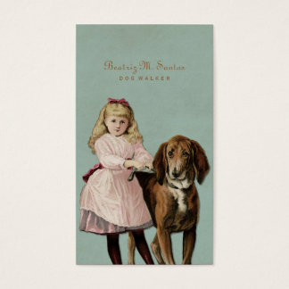 Vintage Dog Walking Cute Girl Cool Animal Simple Business Card