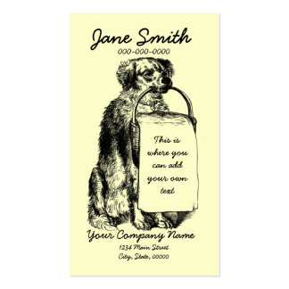 Vintage Dog with Basket Double-Sided Standard Business Cards (Pack Of 100)