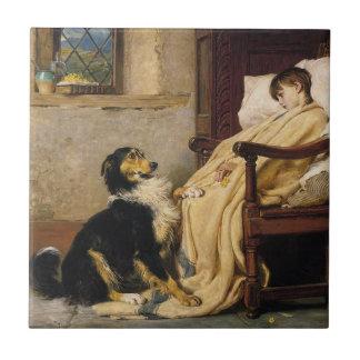 """Vintage Dog with sick Child 4.25"""" tile"""
