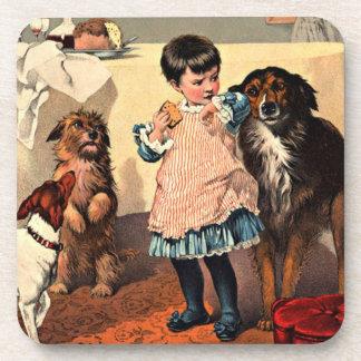 Vintage Dogs & Child Cork Coaster