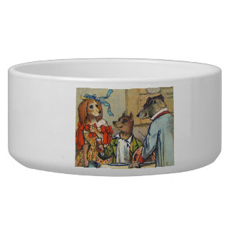 Vintage Dogs Dress for Doggy Mealtime Bowl
