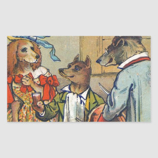 Vintage Dogs Dress for Doggy Mealtime Stickers
