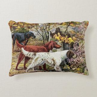 Vintage Dogs Setter Trio Decorative Pillow