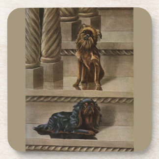 Vintage Dogs Sitting on a Staircase Beverage Coaster