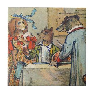Vintage Dogs Victorian Dinner Dress Ceramic Tile