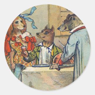 Vintage Dogs Victorian Dinner Dress Classic Round Sticker