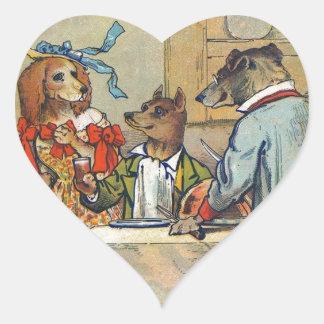 Vintage Dogs Victorian Dinner Dress Heart Sticker