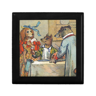 Vintage Dogs Victorian Dinner Dress Keepsake Box
