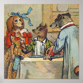 Vintage Dogs Victorian Dinner Dress Poster