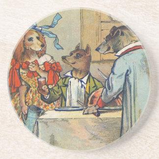 Vintage Dogs Victorian Dinner Dress Sandstone Coaster