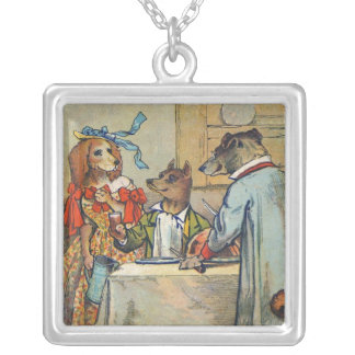 Vintage Dogs Victorian Dinner Dress Silver Plated Necklace