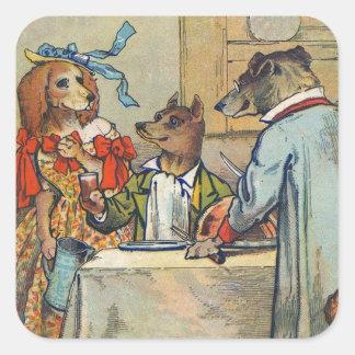 Vintage Dogs Victorian Dinner Dress Square Sticker