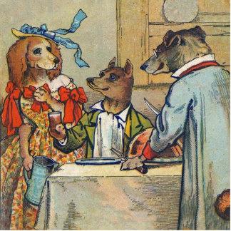 Vintage Dogs Victorian Dinner Dress Statuette