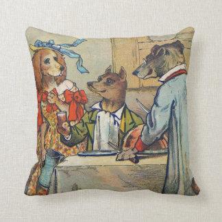 Vintage Dogs Victorian Dinner Dress Throw Pillow