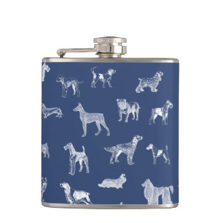 Vintage Dogs (White) Flask