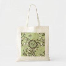 Vintage Dogwood on Green Canvas Bag