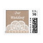 Vintage Doily Wedding Postage Stamp