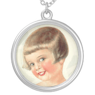 Vintage Doll Girl Sterling Silver Necklace