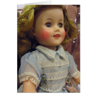 Vintage Doll in Pale Blue Greeting Card